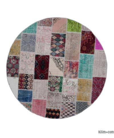 Multicolor Round Over-dyed Turkish Patchwork Rug