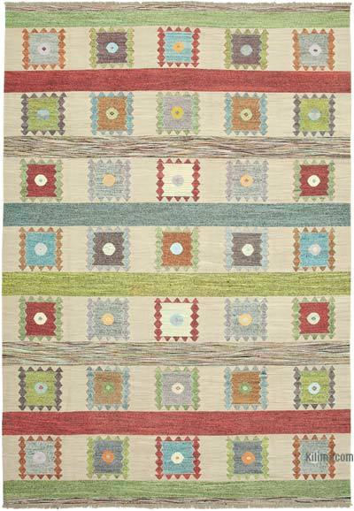 Beige, Multicolor New Contemporary Handwoven Wool Rug - 10' x 14'6'' (120 in. x 174 in.) - Old Yarn