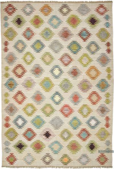 Multicolor, Beige New Contemporary Handwoven Wool Rug - 9'8'' x 14'1'' (116 in. x 169 in.) - Old Yarn