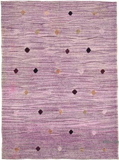 Purple New Contemporary Handwoven Wool Rug - 6'6'' x 9'6'' (78 in. x 114 in.) - Old Yarn