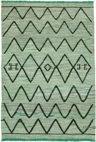 "New Contemporary Handwoven Wool Rug - 6'11"" x 10'1"" (83 in. x 121 in.) - Old Yarn"