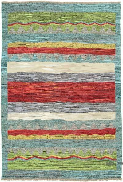 Blue, Multicolor New Contemporary Handwoven Wool Rug - 6'7'' x 9'7'' (79 in. x 115 in.) - Old Yarn