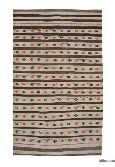 "New Contemporary Handwoven Wool Rug - 6'7"" x 10'6"" (79 in. x 126 in.) - Old Yarn"