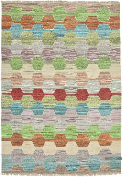 New Contemporary Handwoven Wool Rug - 6'9'' x 9'10'' (81 in. x 118 in.) - Old Yarn