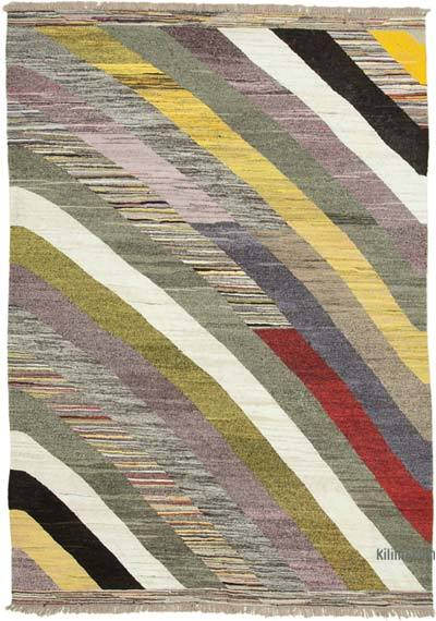 "New Contemporary Handwoven Wool Rug - 6'11"" x 10'5"" (83 in. x 125 in.) - Old Yarn"
