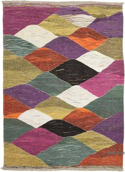 "New Contemporary Handwoven Wool Rug - 6'8"" x 9'3"" (80 in. x 111 in.) - Old Yarn"