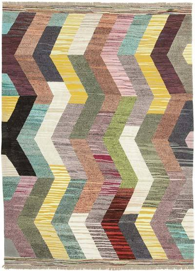 "New Contemporary Handwoven Wool Rug - 6'11"" x 9'10"" (83 in. x 118 in.) - Old Yarn"