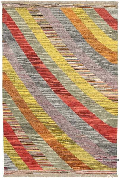 Multicolor New Contemporary Handwoven Wool Rug - 7'1'' x 10'6'' (85 in. x 126 in.) - Old Yarn