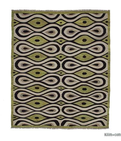 "New Contemporary Handwoven Wool Rug - 8'6"" x 10'1"" (102 in. x 121 in.) - Old Yarn"