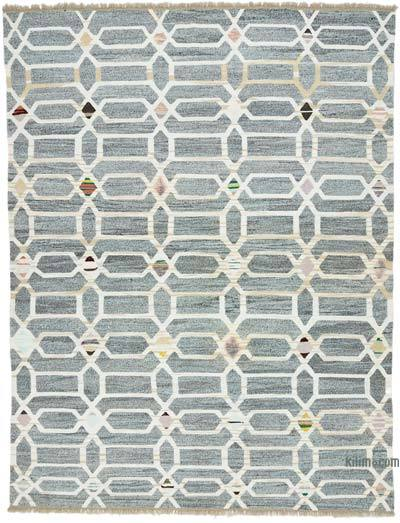 "New Contemporary Handwoven Wool Rug - 8'1"" x 10'5"" (97 in. x 125 in.) - Old Yarn"