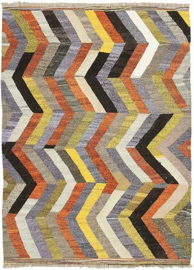 "New Contemporary Handwoven Wool Rug - 5'9"" x 8'2"" (69 in. x 98 in.) - Old Yarn"