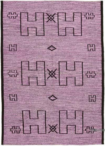 Purple, Black New Contemporary Handwoven Wool Rug - 6'3'' x 8'11'' (75 in. x 107 in.) - Old Yarn