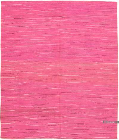 Pink New Contemporary Handwoven Wool Rug - 6'11'' x 8'6'' (83 in. x 102 in.) - Old Yarn