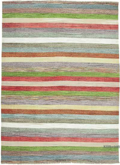 Multicolor New Contemporary Handwoven Wool Rug - 8'8'' x 12'3'' (104 in. x 147 in.) - Old Yarn