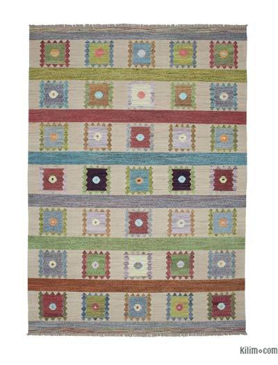 Beige, Multicolor New Contemporary Handwoven Wool Rug - 9' x 12'10'' (108 in. x 154 in.) - Old Yarn
