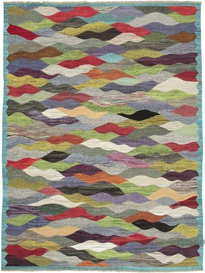 Multicolor New Contemporary Handwoven Wool Rug - 9'10'' x 13'3'' (118 in. x 159 in.) - Old Yarn