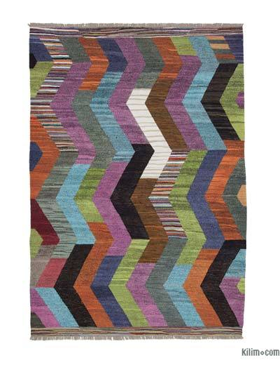 "New Contemporary Handwoven Wool Rug - 7'4"" x 10'5"" (88 in. x 125 in.) - Old Yarn"