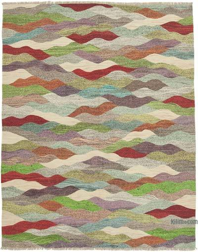 Multicolor New Contemporary Handwoven Wool Rug - 8'1'' x 10'3'' (97 in. x 123 in.) - Old Yarn