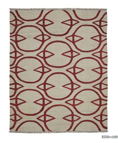 Beige, Red New Contemporary Handwoven Wool Rug - 8'1'' x 10'2'' (97 in. x 122 in.) - Old Yarn