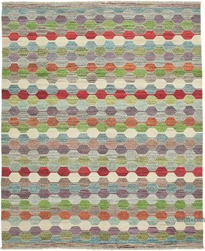 "New Contemporary Handwoven Wool Rug - 8'1"" x 9'11"" (97 in. x 119 in.) - Old Yarn"