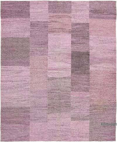 Purple New Contemporary Handwoven Wool Rug - 8'2'' x 9'11'' (98 in. x 119 in.) - Old Yarn