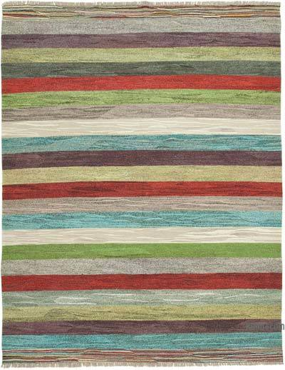 Multicolor New Contemporary Handwoven Wool Rug - 8'6'' x 10'10'' (102 in. x 130 in.) - Old Yarn