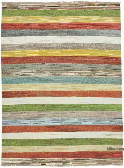 New Contemporary Handwoven Wool Rug - 8'1'' x 10'9'' (97 in. x 129 in.) - Old Yarn