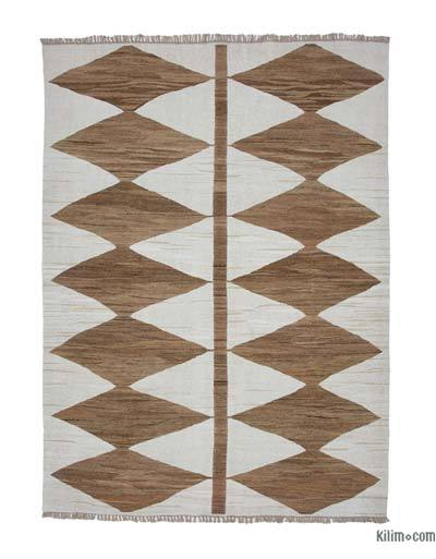 "New Contemporary Handwoven Wool Rug - 8'2"" x 10'10"" (98 in. x 130 in.) - Old Yarn"