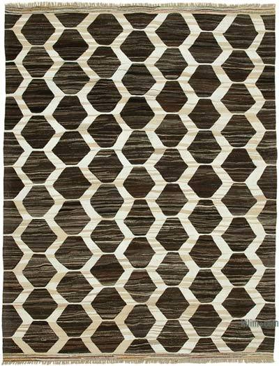 New Contemporary Handwoven Wool Rug - 8'4'' x 10'10'' (100 in. x 130 in.) - Old Yarn