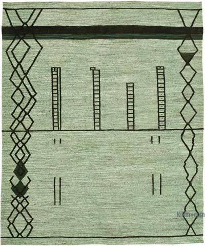 "New Contemporary Handwoven Wool Rug - 8'4"" x 10'10"" (100 in. x 130 in.) - Old Yarn"