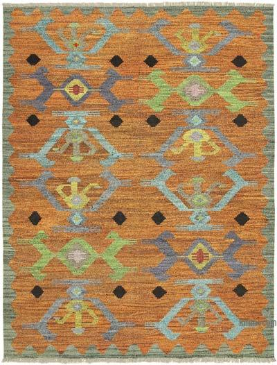 Orange, Multicolor New Contemporary Handwoven Wool Rug - 8'2'' x 10'10'' (98 in. x 130 in.) - Old Yarn
