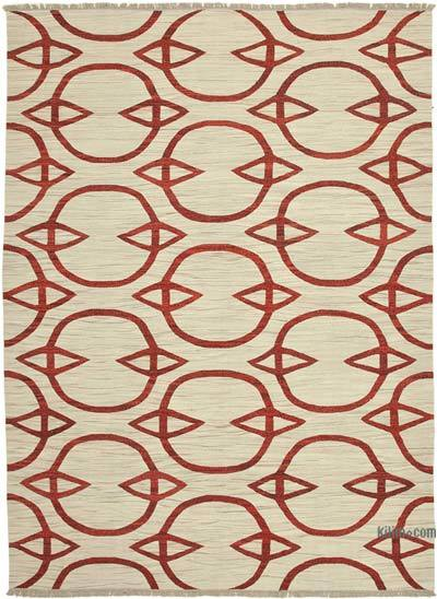 Beige, Red New Contemporary Handwoven Wool Rug - 9'1'' x 12'7'' (109 in. x 151 in.) - Old Yarn