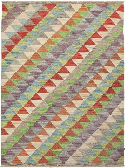 "New Contemporary Handwoven Wool Rug - 9'1"" x 12'3"" (109 in. x 147 in.) - Old Yarn"