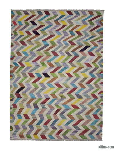 Beige, Multicolor New Contemporary Handwoven Wool Rug - 9'10'' x 14'4'' (118 in. x 172 in.) - Old Yarn
