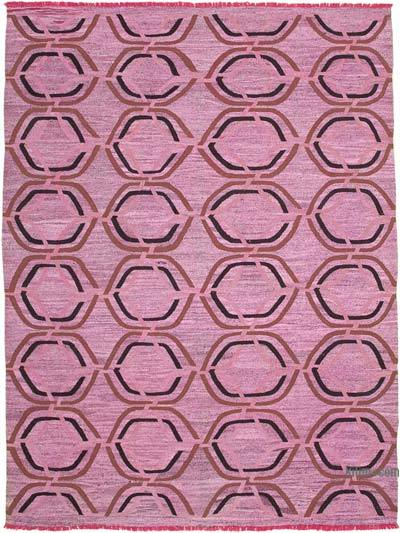 "New Contemporary Handwoven Wool Rug - 10'1"" x 13'10"" (121 in. x 166 in.) - Old Yarn"