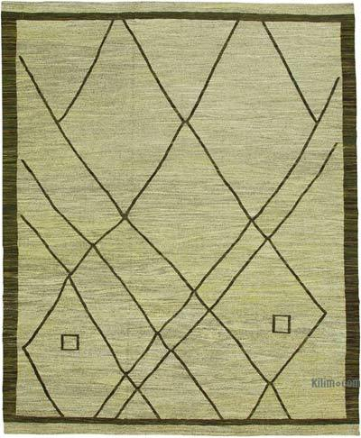 Green New Contemporary Handwoven Wool Rug - 10' x 13'1'' (120 in. x 157 in.) - Old Yarn