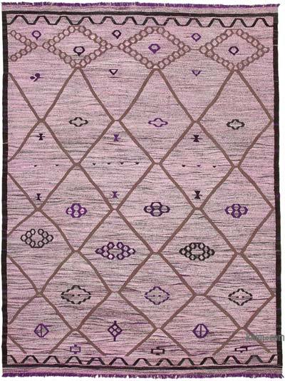 Purple New Contemporary Handwoven Wool Rug - 10'4'' x 13'9'' (124 in. x 165 in.) - Old Yarn