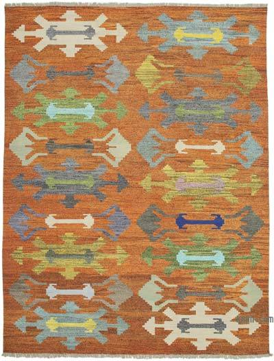 Orange, Multicolor New Contemporary Handwoven Wool Rug - 10' x 13'6'' (120 in. x 162 in.) - Old Yarn