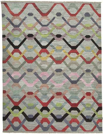 New Contemporary Handwoven Wool Rug - 10'1'' x 13'3'' (121 in. x 159 in.) - Old Yarn