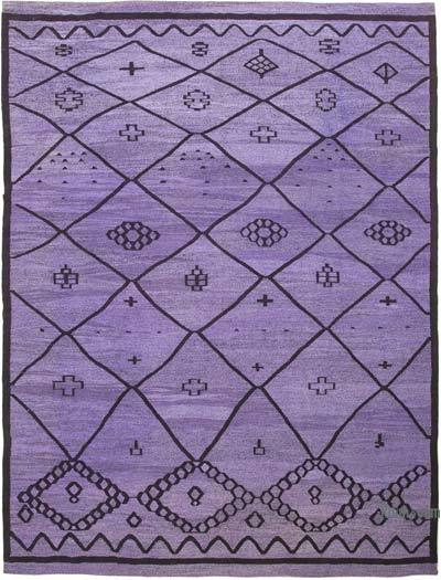 Purple, Black New Contemporary Handwoven Wool Rug - 10'4'' x 13'10'' (124 in. x 166 in.) - Old Yarn
