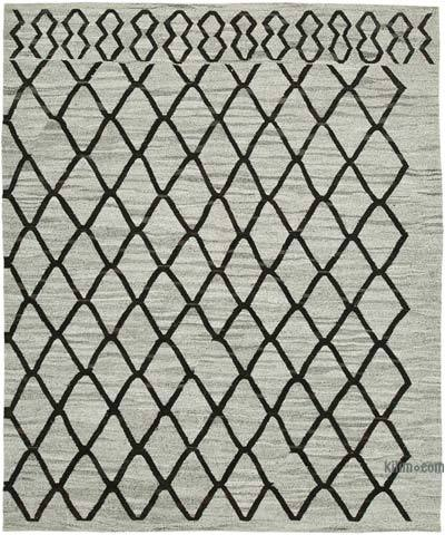 "New Contemporary Handwoven Wool Rug - 9'9"" x 8'2"" (117 in. x 98 in.) - Old Yarn"