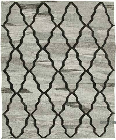 Grey New Contemporary Handwoven Wool Rug - 7'11'' x 9'11'' (95 in. x 119 in.) - Old Yarn