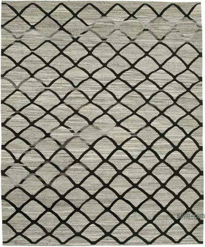 "New Contemporary Handwoven Wool Rug - 8'5"" x 10'5"" (101 in. x 125 in.) - Old Yarn"