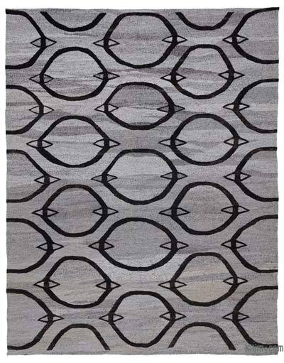 Grey New Contemporary Handwoven Wool Rug - 8'2'' x 10'4'' (98 in. x 124 in.) - Old Yarn