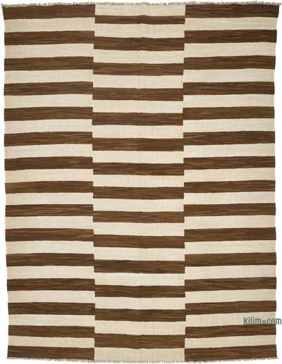 Brown, Beige New Contemporary Handwoven Wool Rug - 7'7'' x 10' (91 in. x 120 in.) - Old Yarn