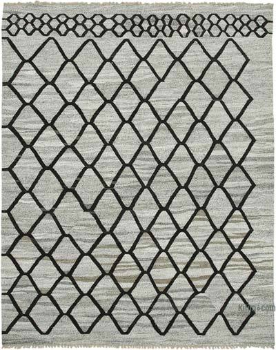 New Contemporary Handwoven Wool Rug - 8'2'' x 10'5'' (98 in. x 125 in.) - Old Yarn