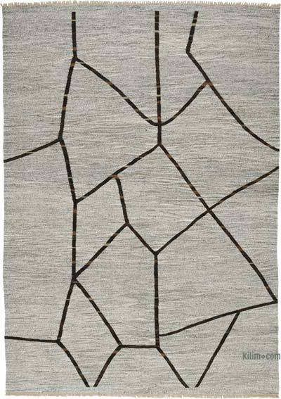"New Contemporary Handwoven Wool Rug - 8'11"" x 11'1"" (107 in. x 133 in.) - Old Yarn"