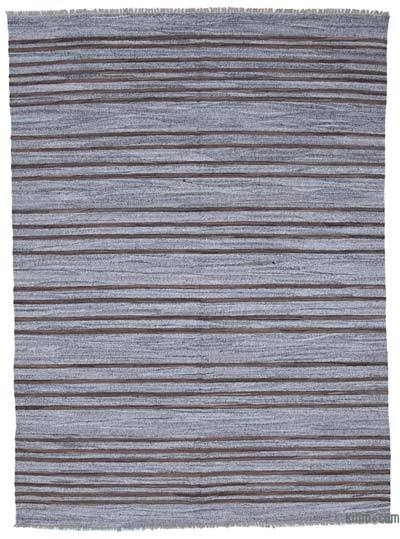 Grey New Contemporary Handwoven Wool Rug - 7'11'' x 10'8'' (95 in. x 128 in.) - Old Yarn