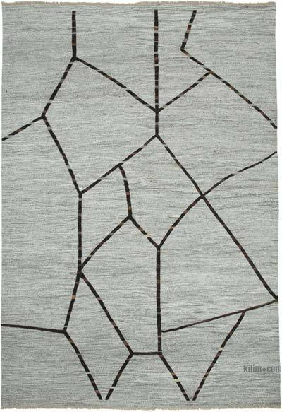 Grey New Contemporary Handwoven Wool Rug - 9'11'' x 14'8'' (119 in. x 176 in.) - Old Yarn