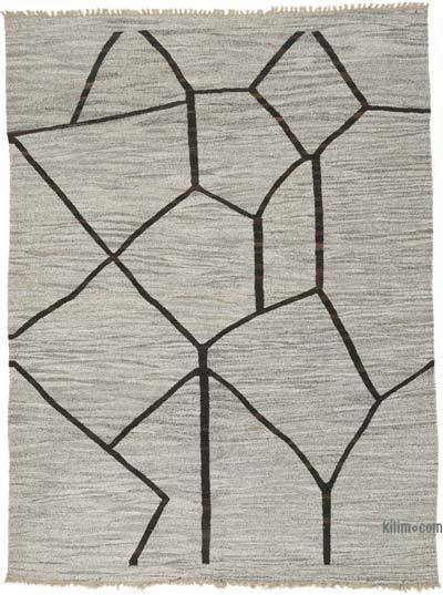 "New Contemporary Handwoven Wool Rug - 8'1"" x 10'8"" (97 in. x 128 in.) - Old Yarn"